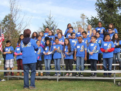 Students from Central Elementary School sang patriotic songs